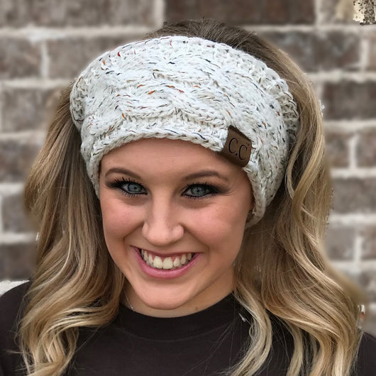 HW-33 IVORY SPECKLED HEADWRAP