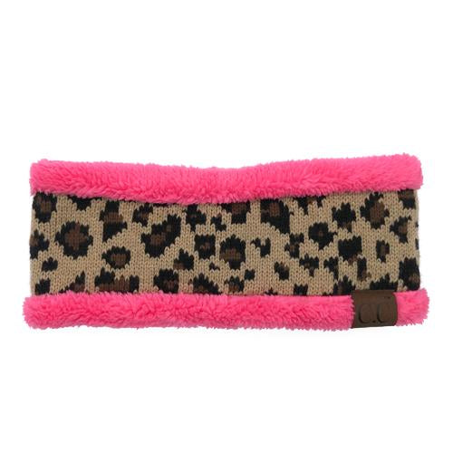 HW-45 LEOPARD HEADWRAP NEW CANDY PINK