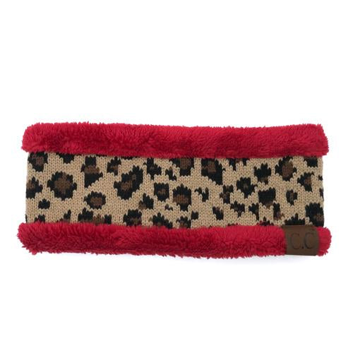 HW-45 LEOPARD HEADWRAP RED