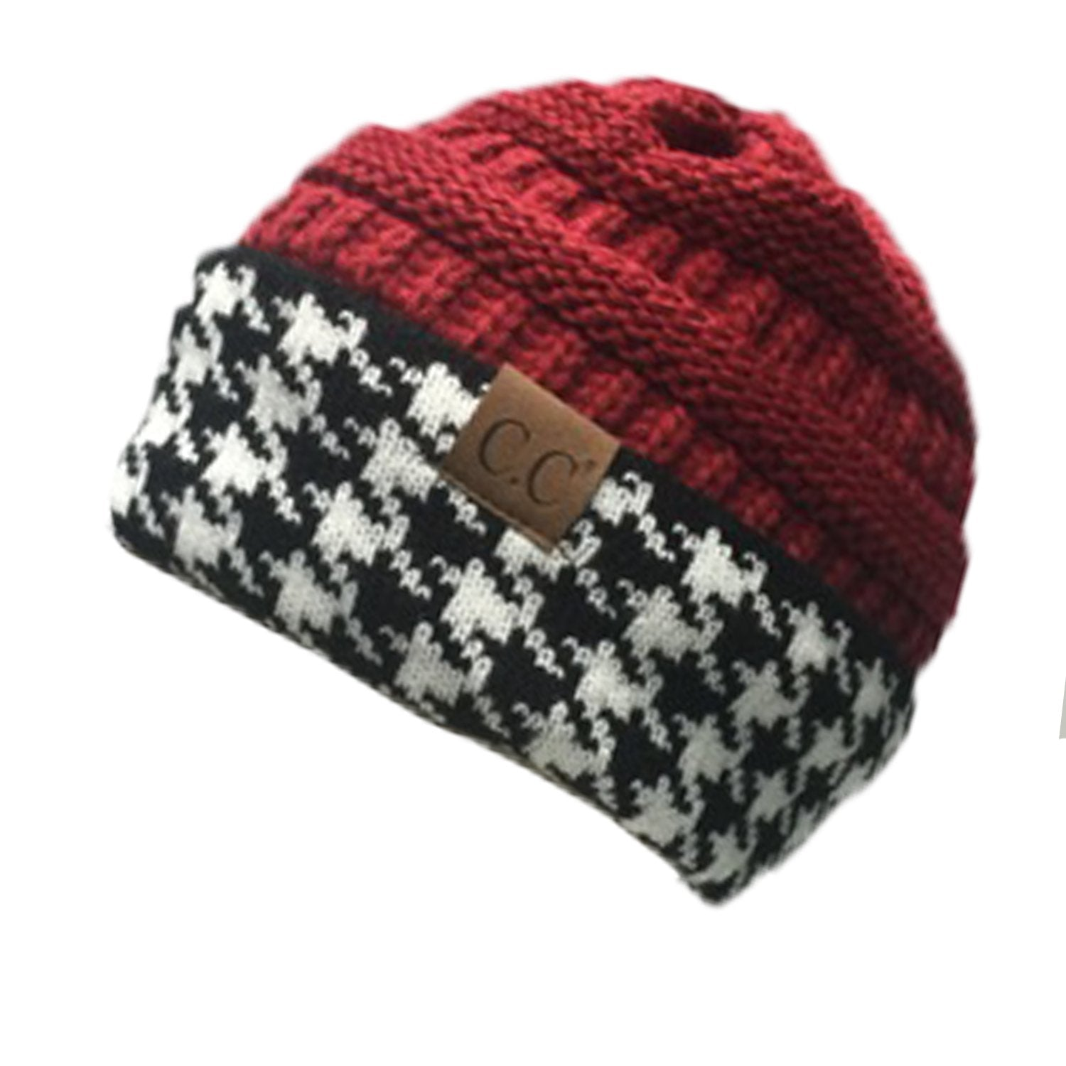 Hat-12 HOUNDSTOOTH CRIMSON BEANIE