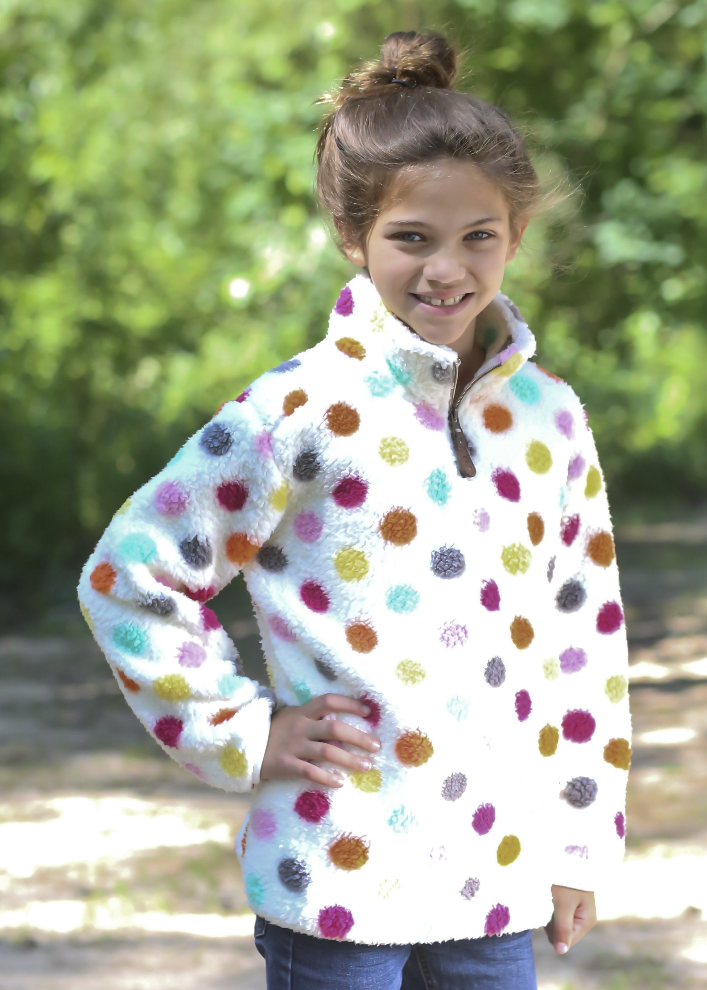 KIDS SH4588M MULTI DOT IVORY SHERPA