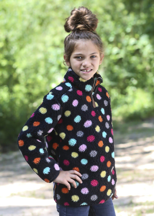 KIDS-SH4588M MULTI DOT BLACK SHERPA