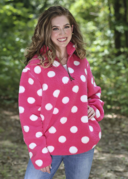 PD-4588 DOT NEW CANDY PINK WHITE SHERPA