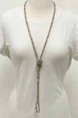 "NK-2244 IRI TAUPE 60"" hand knotted glass bead necklace"