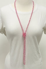 "NK-2244 BUBBLEGUM 60"" hand knotted glass bead necklace"