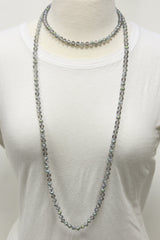 "NK-2244 IRI GREY 60"" hand knotted glass bead necklace"