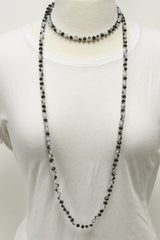 "NK-2244 BLACK WHITE MULTI 60"" hand knotted glass bead necklace"