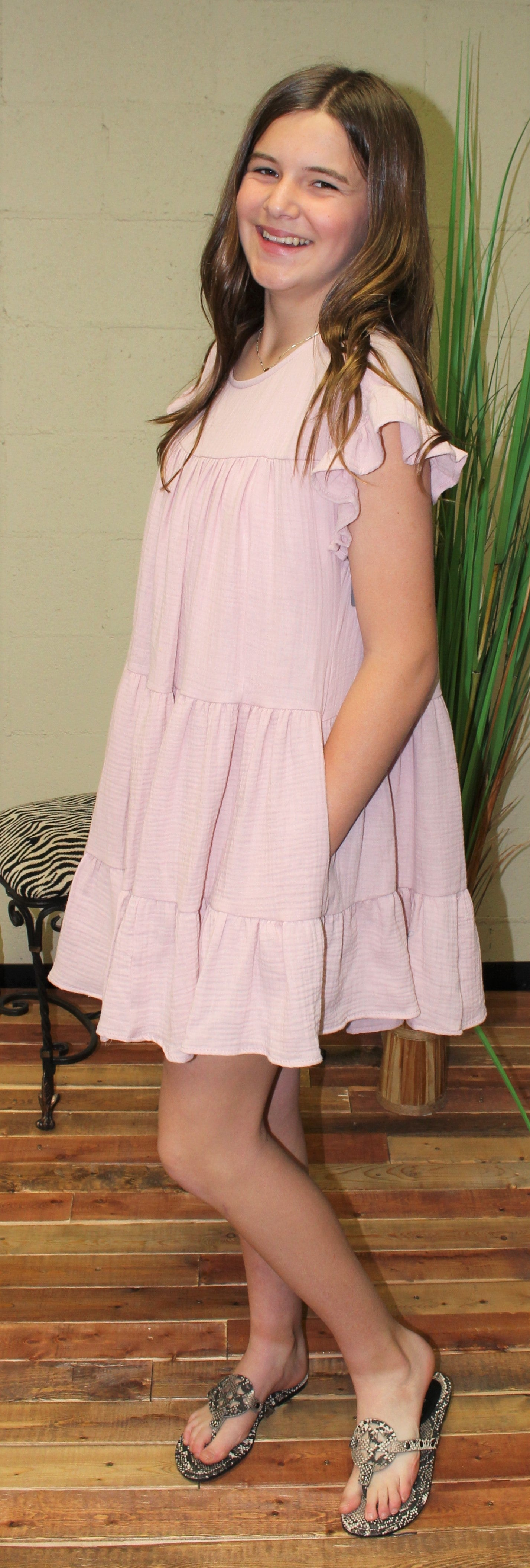 Ruffle Sleeve Tiered Shirred Tunic Solid Dress-Mauve DT5229