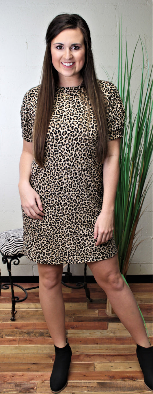 Leopard Rib Puff Sleeve Shift Dress-Mocha HD1615