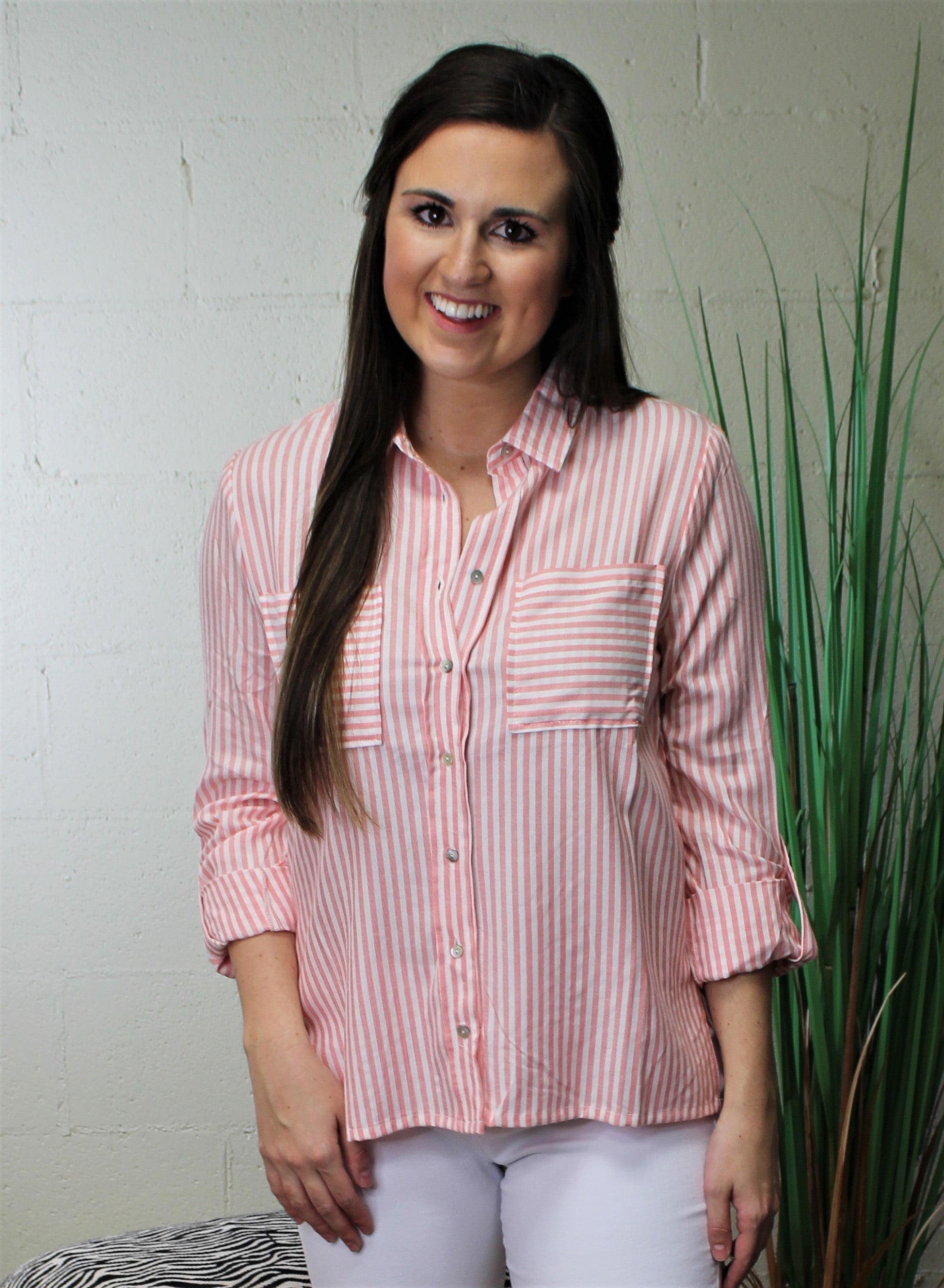 Stripped Button Down Shirt-Coral 0709-5906-1