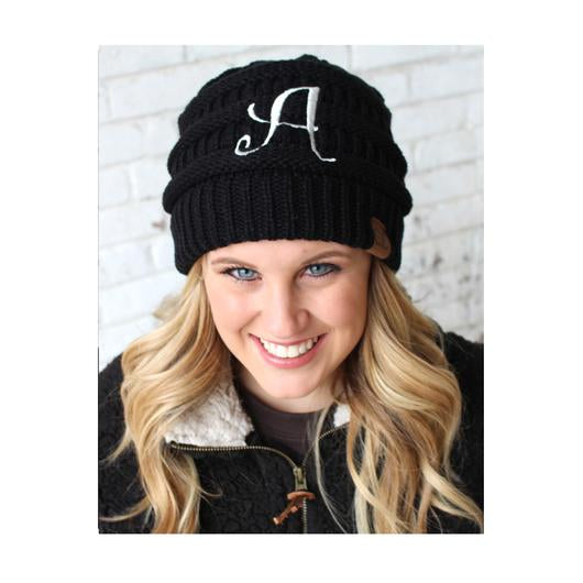 BJ-1 Initial Beanie Black with Ivory Initial Adult