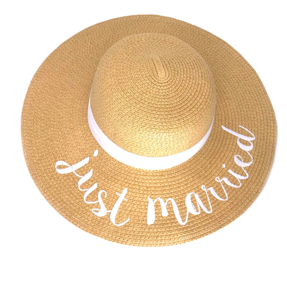 ST-2017 Just Married Beach Hat with White