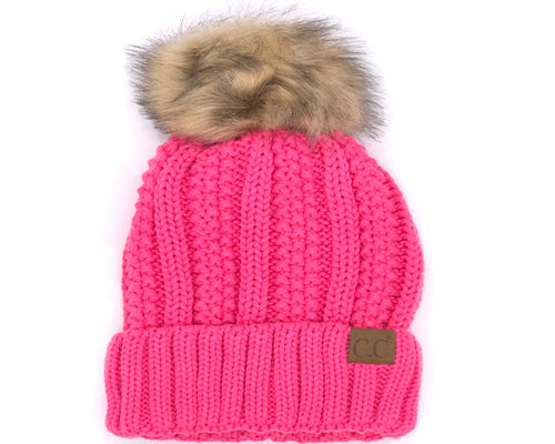 KIDS-820 SHERPA LINED BEANIE W/FAUX FUR POM - NEW CANDY PINK