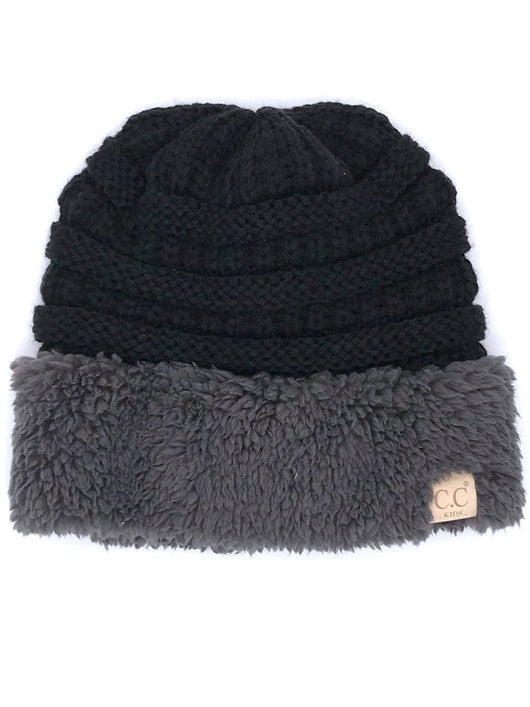 KID-88 C.C Youth Sherpa Beanie Black Grey