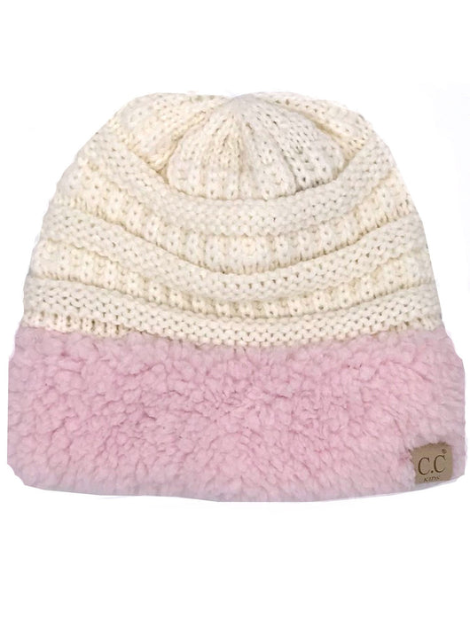 KID-88 C.C Youth Sherpa Beanie Ivory Light Pink