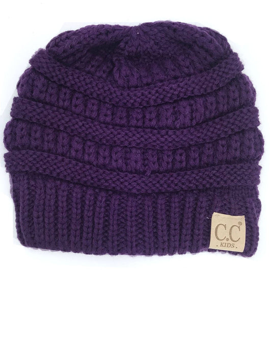 YJ847 Dark Purple Kid Beanie