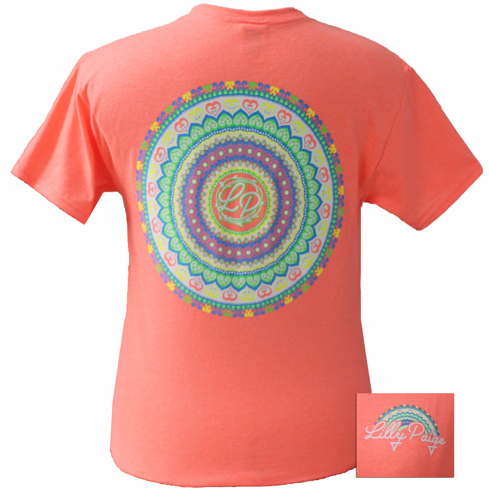 LP-Mandala Retro Heather Coral Short Sleeve T-Shirt