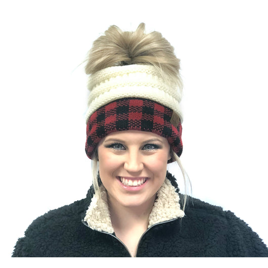 MB-17 MESSY BUN BUFFALO PLAID IVORY RED/BLACK