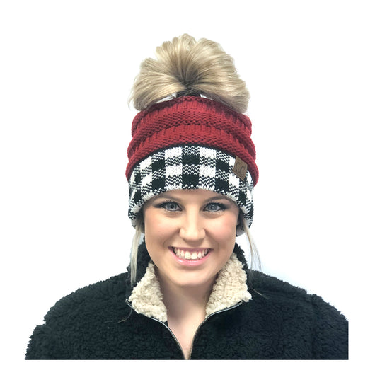 MB-17 MESSY BUN BUFFALO PLAID RED WHITE/BLACK