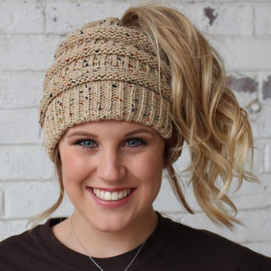 MB-33 MESSY BUN SPECKLED BEANIE LATTE