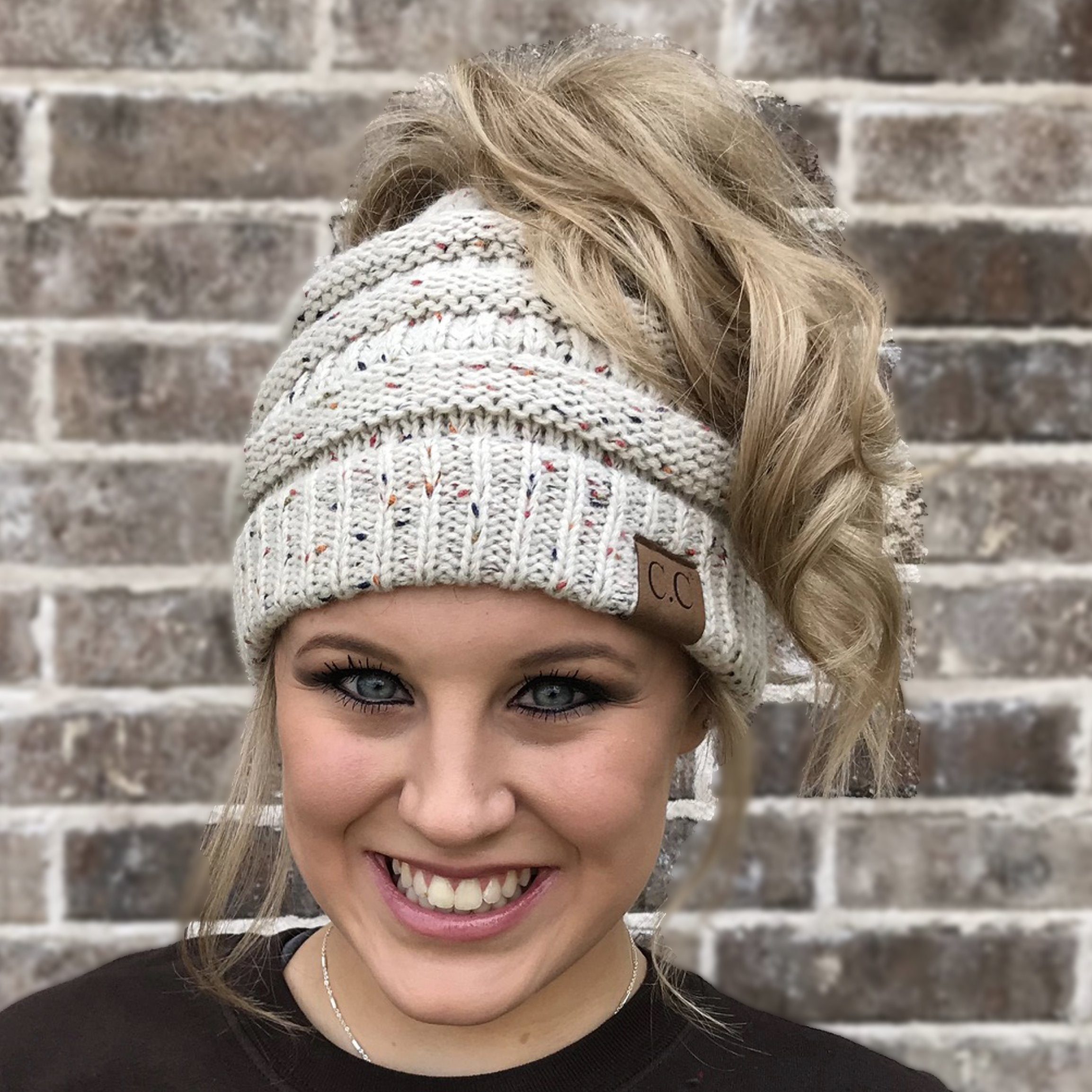MB-33 MESSY BUN SPECKLED BEANIE OATMEAL