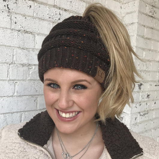 MB-33 MESSY BUN SPECKLED BEANIE BROWN