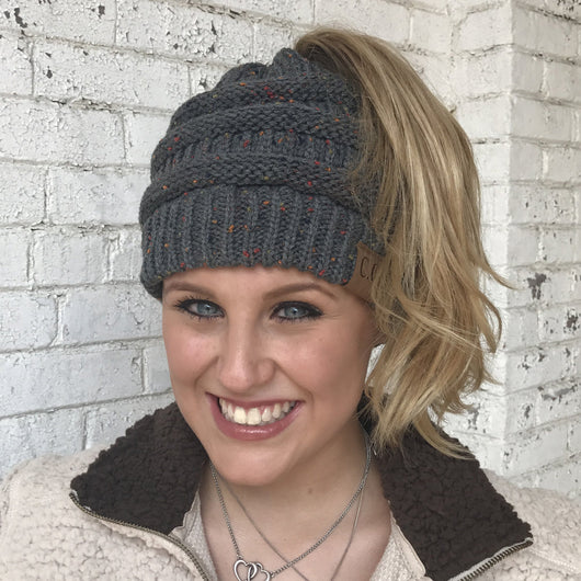 MB-33 MESSY BUN SPECKLED BEANIE DARK MELANGE GRAY