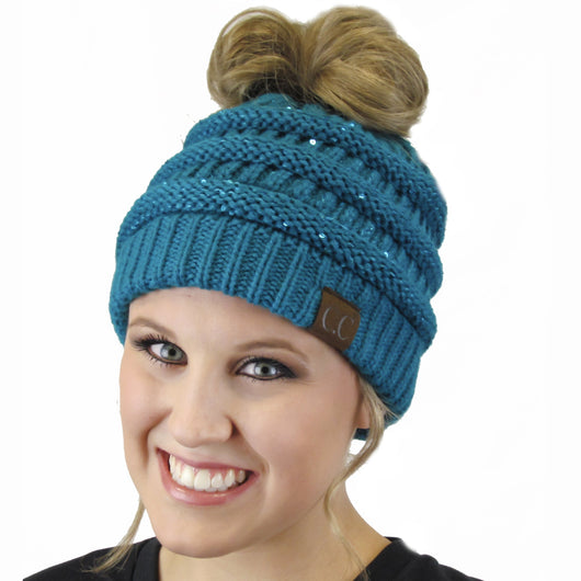 MB-730 SEQUIN BEANIE TEAL