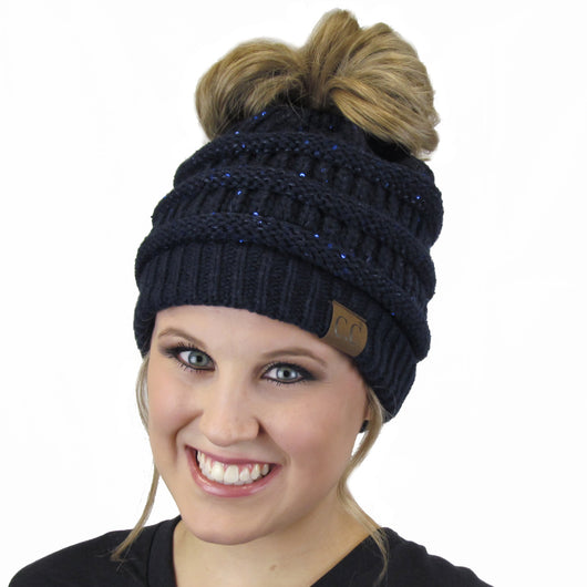 MB-730 SEQUIN BEANIE NAVY