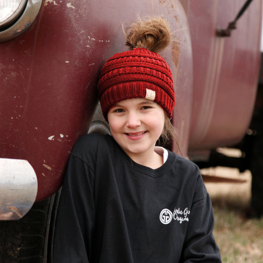 MB-847-KID Red Messy Bun Beanie