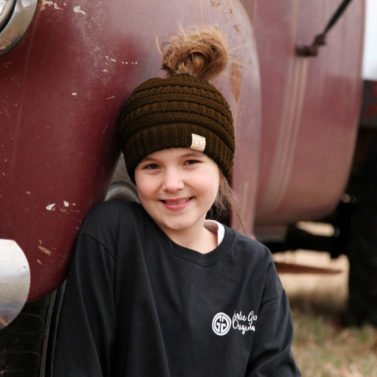 MB-847-KID Brown Messy Bun Beanie