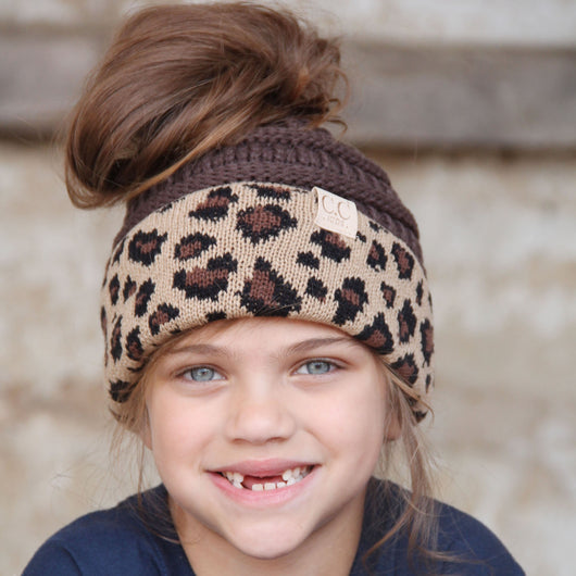 MB-45KID-Brown Leopard Kid Messy Bun
