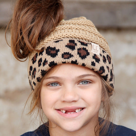 MB-45KID-Camel Leopard Kid Messy Bun