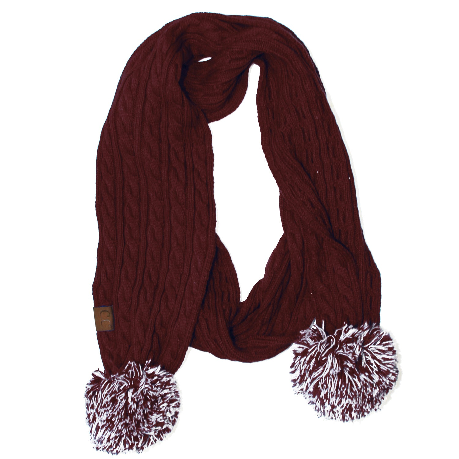SK-56 Maroon and White Team Pom-Pom Scarf