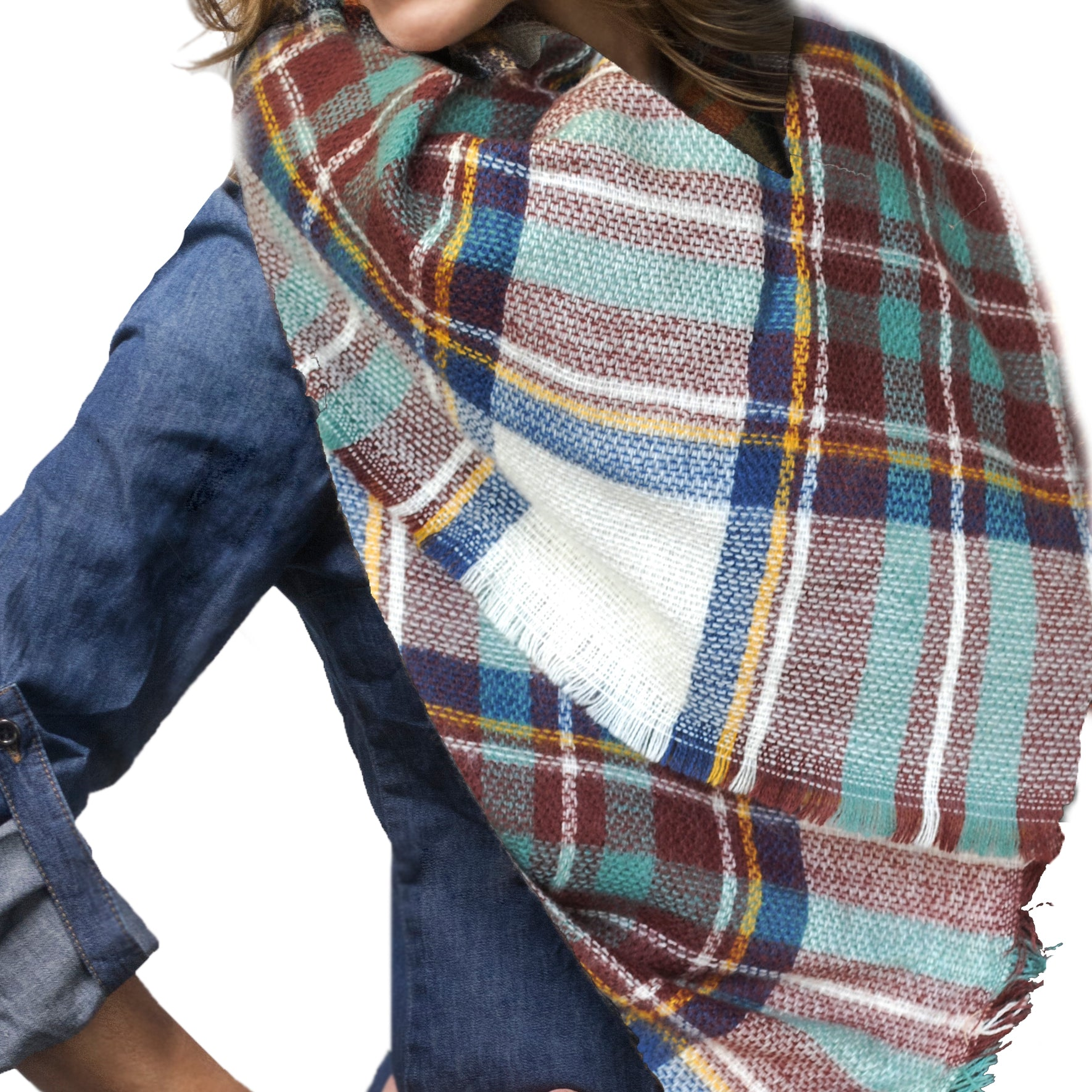 BLANKET SCARF 6 WHITE AND MAROON