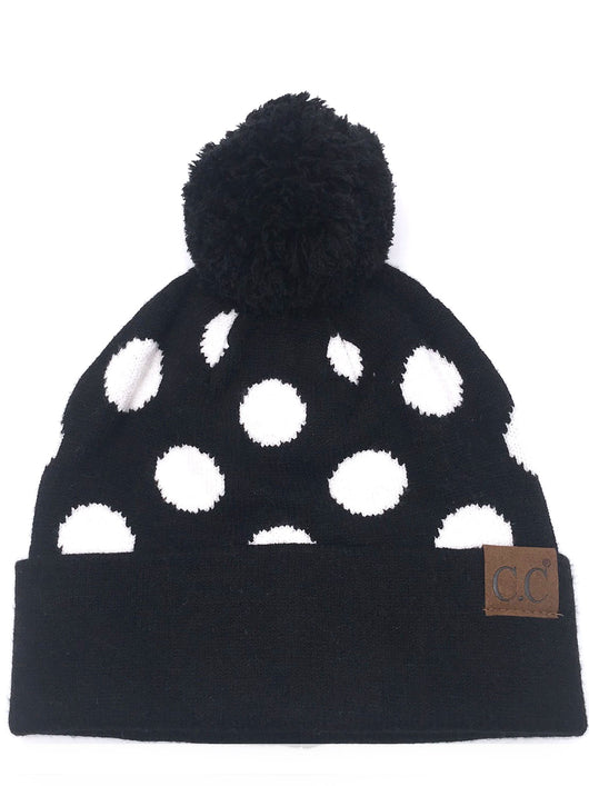 PD-21 Hat Polka Dot Beanie Black/White