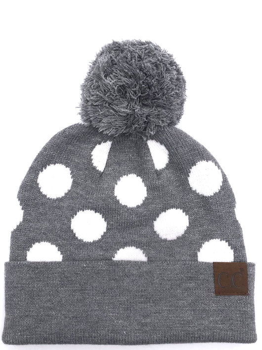 PD-21 Hat Polka Dot Beanie Lt Grey/White