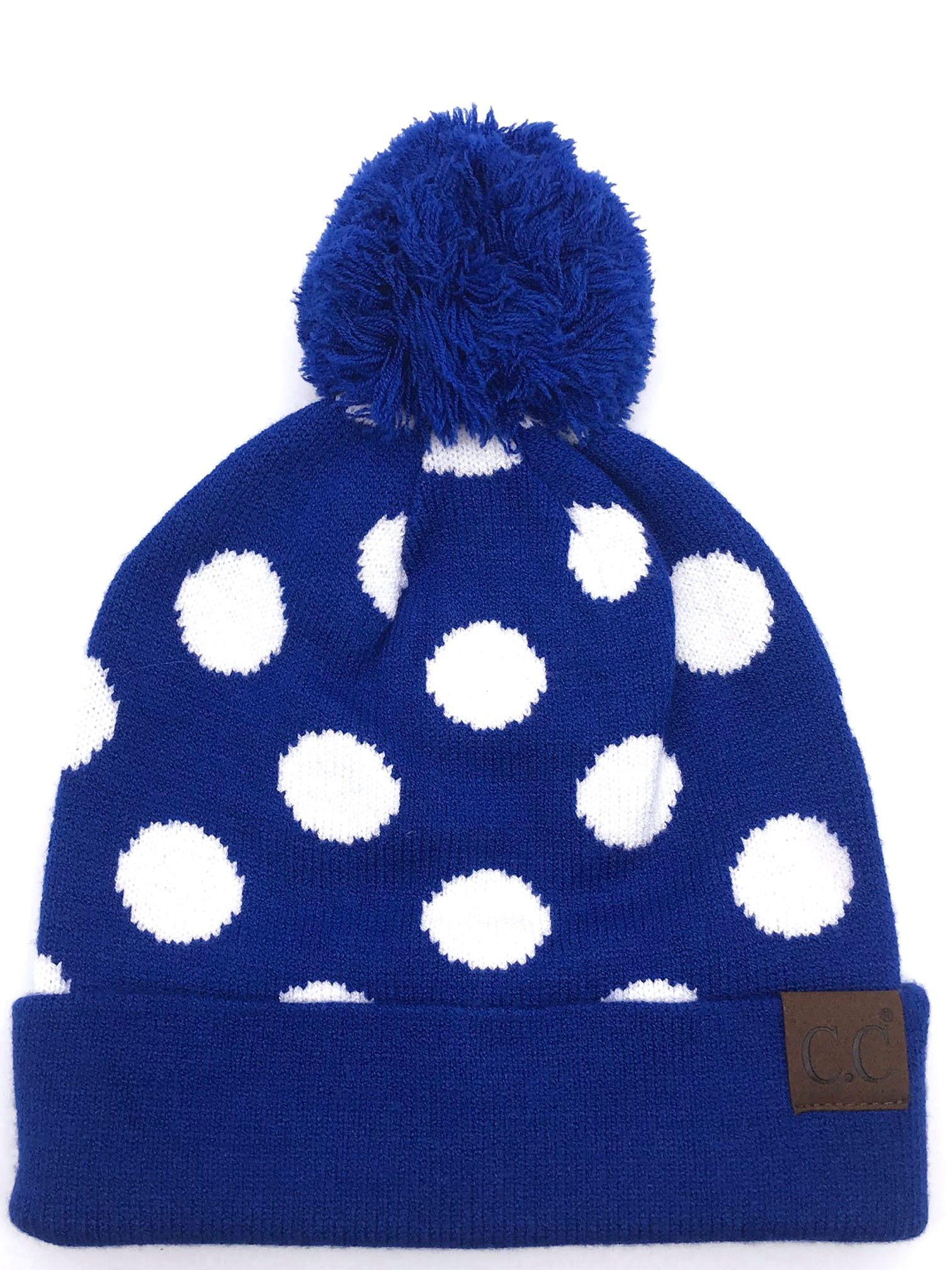 PD-21 Hat Polka Dot Beanie Royal/White