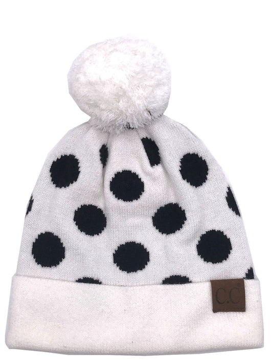 PD-21 Hat Polka Dot Beanie White/Black
