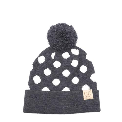 PD-KIDS-21 Hat Polka Dot Beanie Dark Melange Grey/White