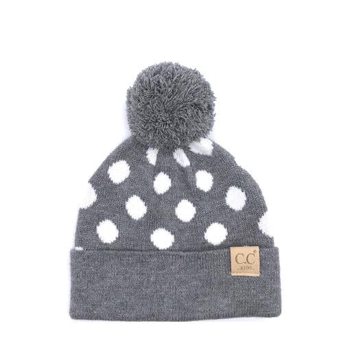 PD-KIDS-21 Hat Polka Dot Beanie Lt Melange Grey/White