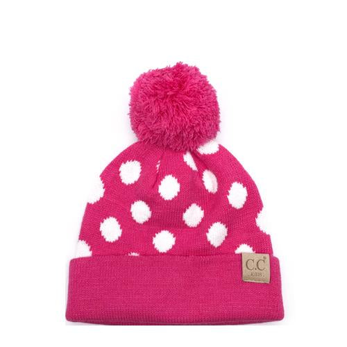 PD-KIDS-21 Hat Polka Dot Beanie Hot Pink/White