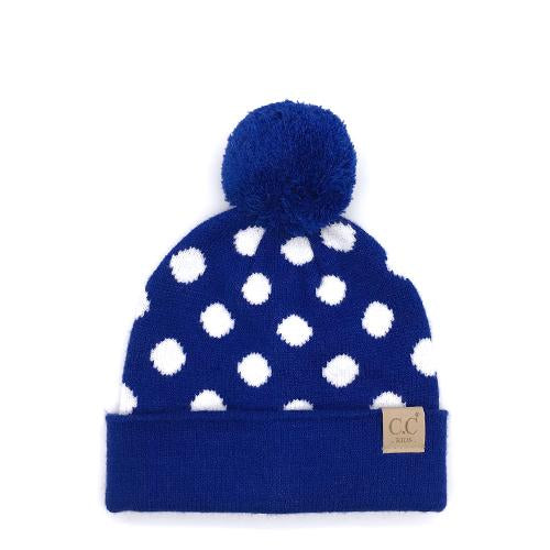 PD-KIDS-21 Hat Polka Dot Beanie Royal/White