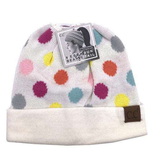 PD-MB-22 Messy Bun Beanie Ivory Multi Dot
