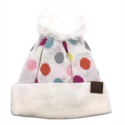 PD-22 Beanie with Pom Ivory Multi Dot