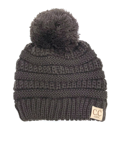 YJ-847POM Brown Kid Beanie