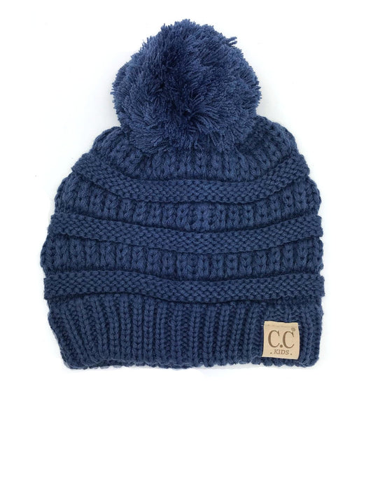 YJ-847POM Dark Denim Kid Beanie