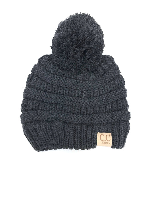 YJ847 Dark Melange Grey Kid Beanie with Pom