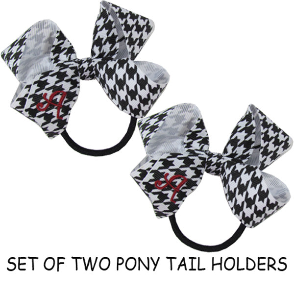 PONY TAIL HOLDERS - BW HOUNDSTOOTH