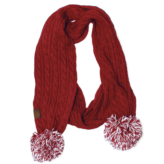 SK-56 Red and White Team Pom-Pom Scarf
